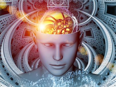 ilustração de cabeça com cerebro mecanico