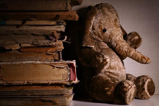 elefante de pelúcia encostado em livros