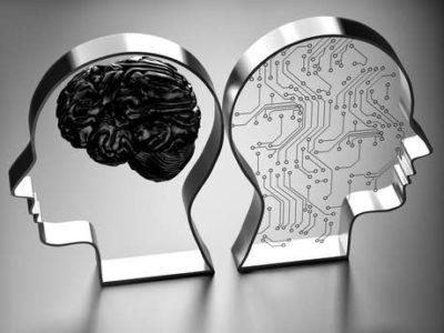 cerebro emocional e racional em ilustração de vidro espelhado