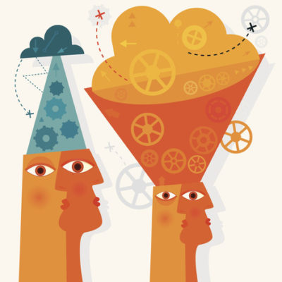 ilustração de mente expandindo atenção de cima para baixo e vice versa