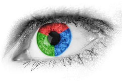 olhos visualizando cores