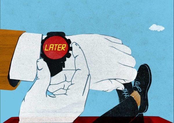 atrasando o relógio para procrastinar até mais tarde