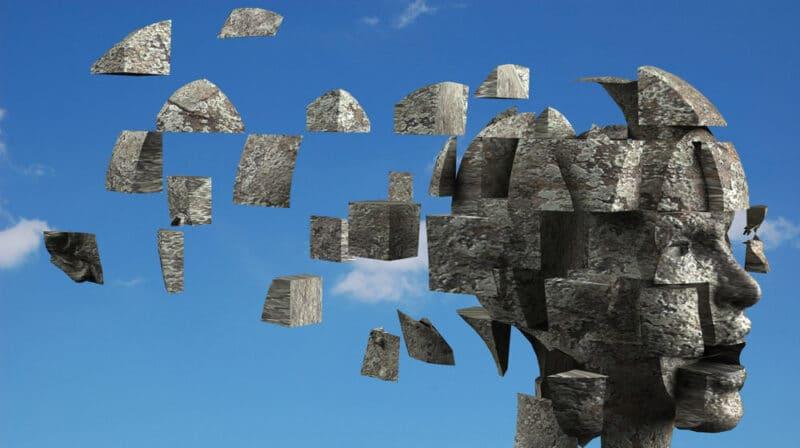 ilustração de recordação do cérebro se construindo em sentido reverso