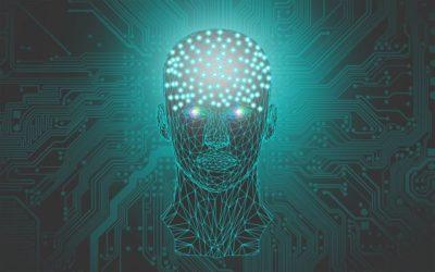 cabeça formada por circuitos de computador