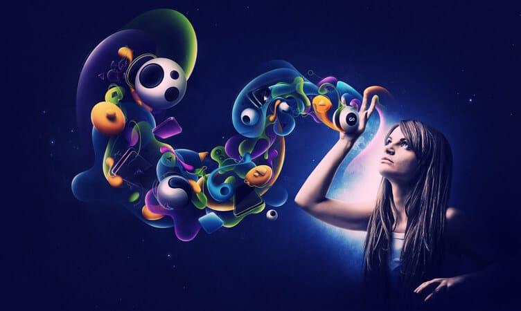 mulher tendo imagens do poder da mente subconsciente