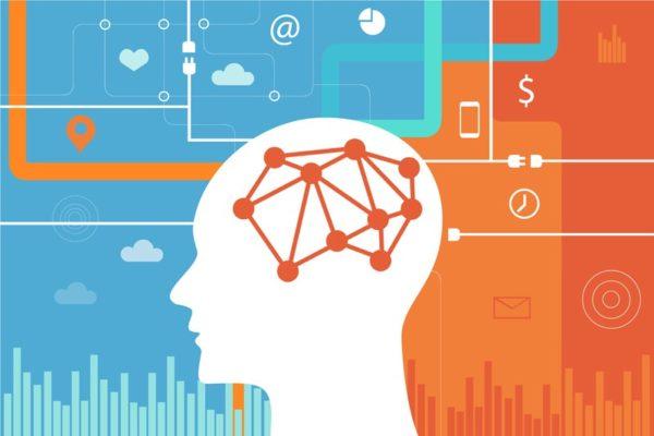 crânio com rede neural ligada simbolizando a memória semântica