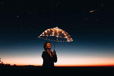 mulher com guarda chuva sorrindo com otimismo