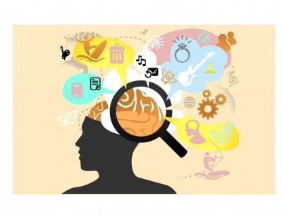 uma lupa de aumento sobre o cérebro e a memória