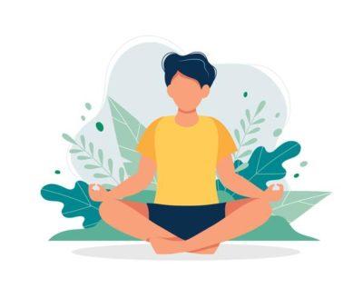 homem sentado meditando para ter autocontrole