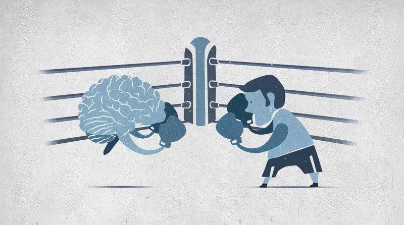 homem lutando box contra o cerebro