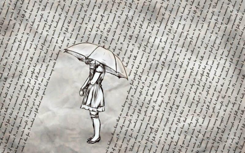 garota com guarda chuva se protegendo de palavras cando do céu