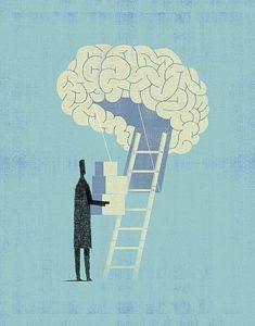 homem levando caixas para dentro do cérebro