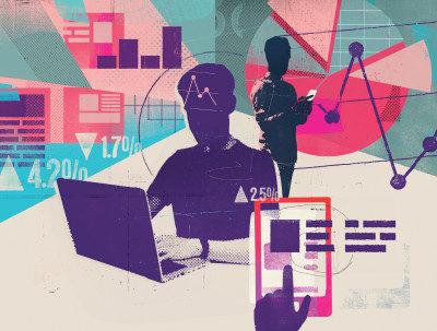 ilustração de rapaz estudando em computador