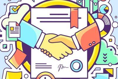ilustração de aperto de mãos após negócio assinado