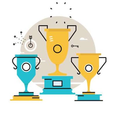 ilustração de três troféus