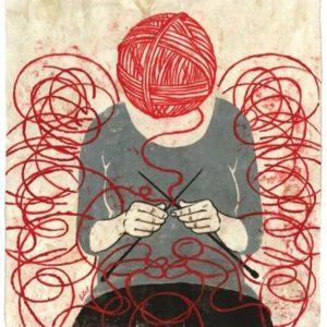 pessoa com mente de linha tricotando lembranças