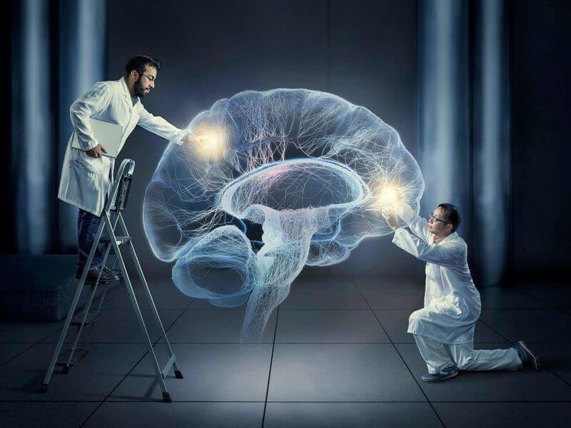 cientistas trabalhando com holograma de um cérebro