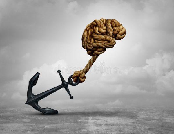 ancora amarrada a uma corda em forma de cerebro
