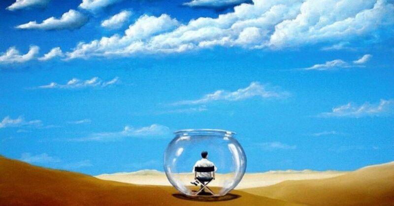 homem preso em um jarro no deserto simbolizando uma bolha de conforto