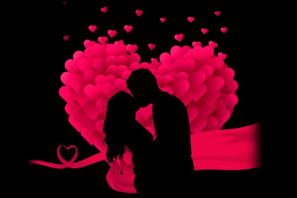 casal se beijando no fundo de coração